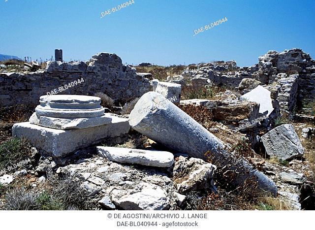 Base and column in the basilica of Tigani, Cape Cavo Grosso, Mani Peninsula, Greece. Byzantine civilisation, 6h-7th century AD