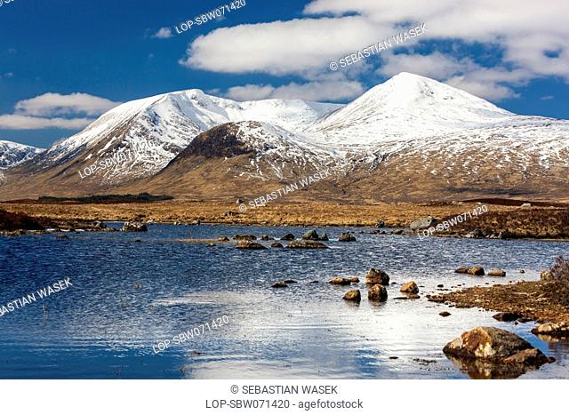 Scotland, Highland, Oban North and Lorn Ward. Lochan na h Achlaise on Rannoch Moor