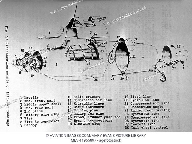 Luftwaffe Messerschmitt Me-163 Komet Section Line-Drawing Technical-Drawing Diagram of Disconnection Points on Laid-Out Fuselage