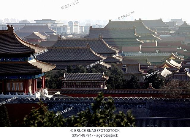 View of Forbidden City from the hill top of Jingshan Park (Prospect Hill Park), Beijing, China