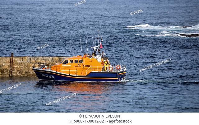 Tamar class lifeboat at sea, Sennen Cove, Sennen, Cornwall, England, May