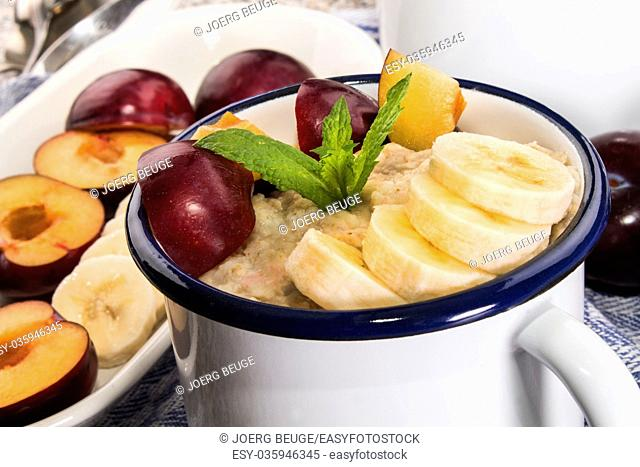 healthy porridge, scottish breakfast with plum and banana