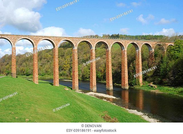 old bridge over river Tweed near Melrose at Leaderfoot