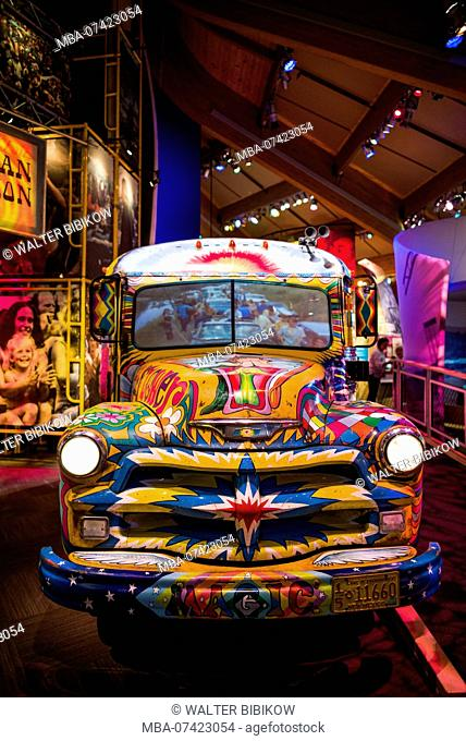 USA, New York, Catskill Mountains, Bethel, site of the 1969 Woodstock Festival, The Museum at Bethel Woods, typical flower power hippie bus