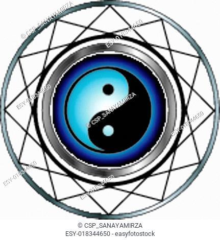 Ying Yang symbol with blue glow