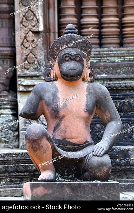 Guardian monkey statue at Banteay Srei temple, Siem Reap province, Cambodia, South East Asia
