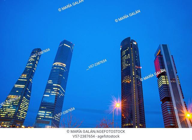Four Towers, night view. CTBA, Madrid, Spain