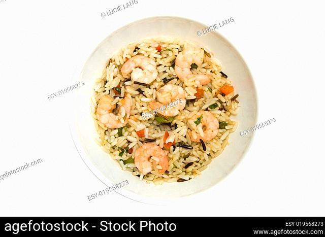 Thai prawn and rice dish over white