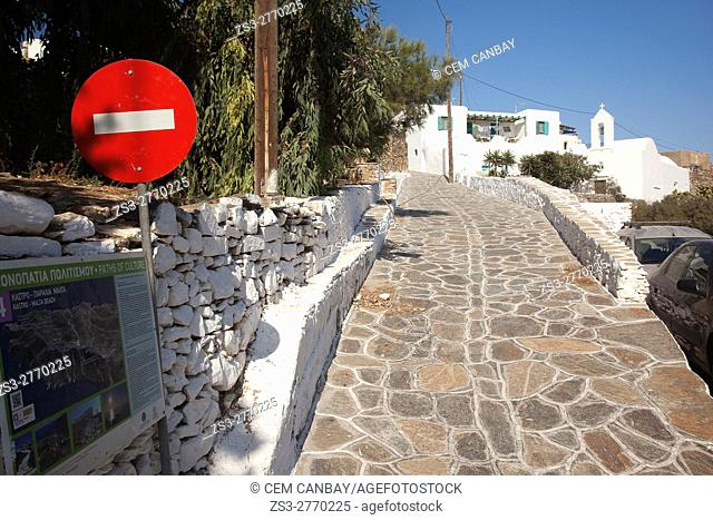 Road leading to the Kastro-Castle area, Sikinos, Cyclades Islands, Greek Islands, Greece, Europe