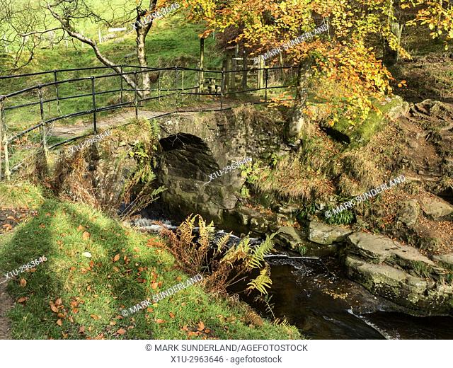 Lumb Bridge at Crimsworth Dean near Pecket Well Hebden Bridge West Yorkshire England