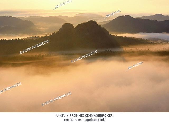 View from Kleiner Winterberg to Lorenzsteine, Elbe Sandstone Mountains, Saxon Switzerland, Saxony, Germany