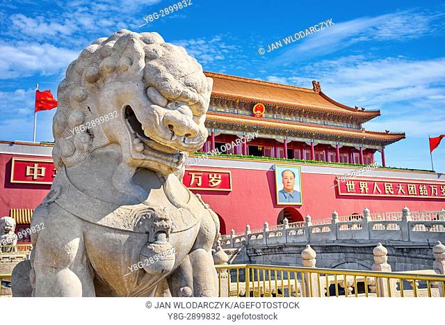 Stone lion and Tiananmen Gate, Heavenly Peace, Beijing, China