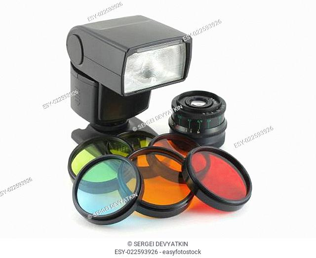 Color filter for lenses and photoflash