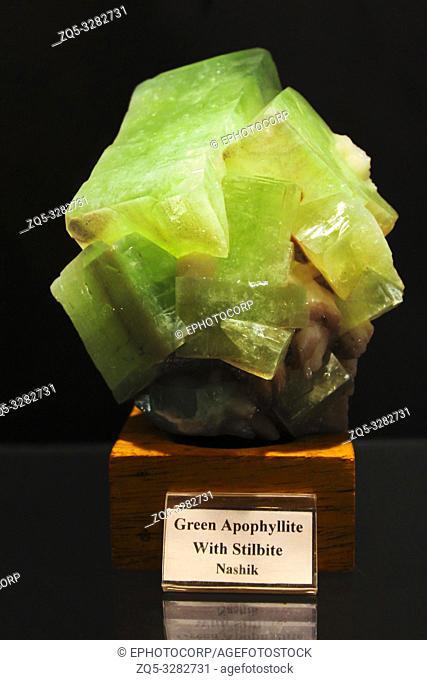Green Apophyllite with Stilbite, Gargoti Museum, Sinner, Maharashtra, India