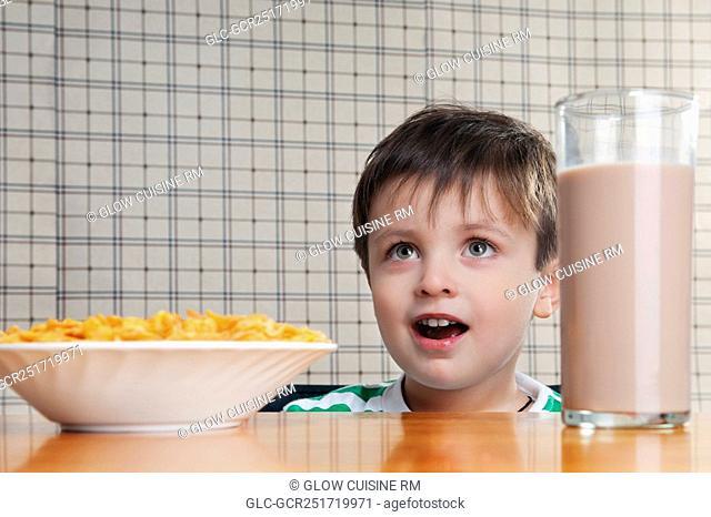 Close-up of a boy having breakfast