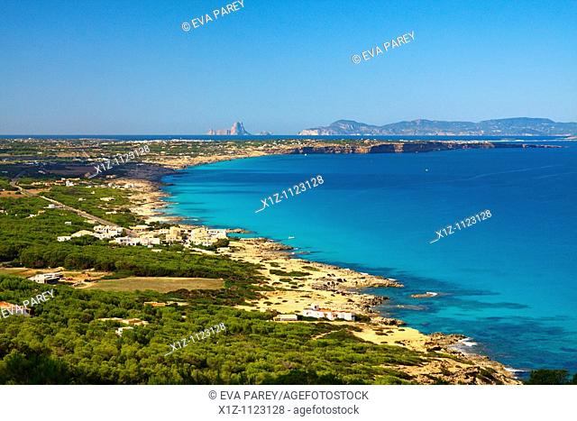 A view of the island of Formentera from El Mirador in La Mola Baleares, Spain