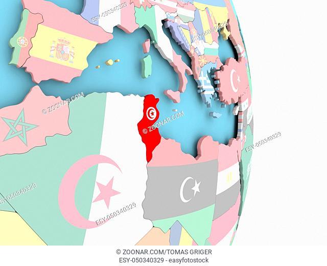 Tunisia with embedded flag on globe. 3D illustration