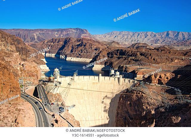 View at the Hoover Dam from the in 2010 built bypass Mike O'Callaghan - Pat Tillman Memorial Bridge