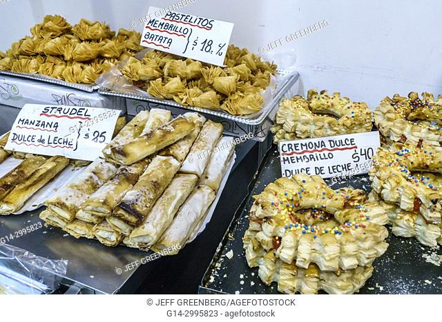 Argentina, Buenos Aires, Palermo, Express, convenience store, market, pastry, confection , strudel, sign, Spanish, language, Argentinean Argentinian Argentine