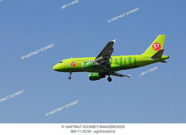 Russian airplane Airbus A319-114 of Siberia Airlines, S7, approaching for landing