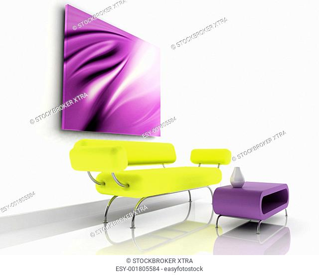 3d render of sofa in a contemporary room
