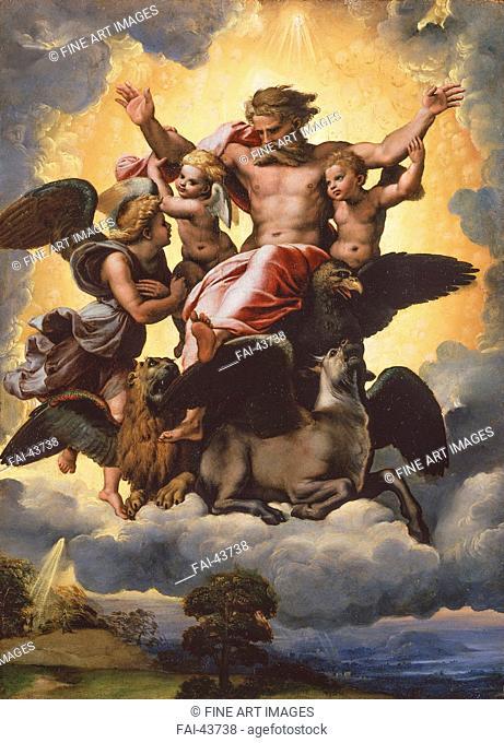 The Vision of Ezekiel by Raphael (Raffaello Sanzio da Urbino) (1483-1520)/Oil on wood/Renaissance/ca 1518/Italy, Roman School/Palazzo Pitti, Florence/40