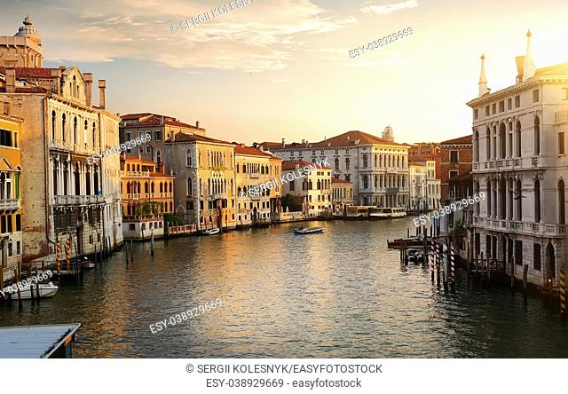 Grand Canal in Venice at the dawn, Italy