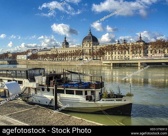 Rhone River and Grand Hotel Dieu, Lyon, France