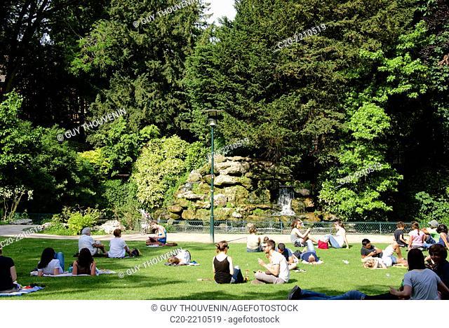 Verdrel Square garden, lawns and cascade, Rouen, upper Normandy, 76000, France