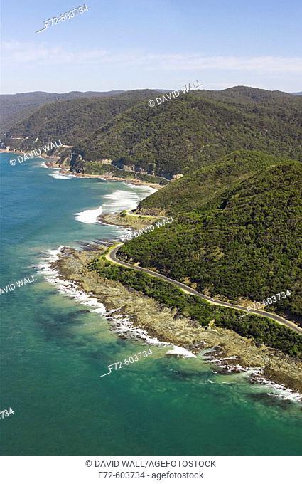 Great Ocean Road near Lorne, Victoria, Australia - aerial