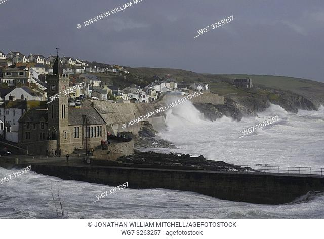 PORTHLEVEN, UK - 03 Mar 2019 - Spectators watch huge waves that came in with Storm Freya amid wind gusts of around 60mph at Porthleven Cornwall England UK on 03...