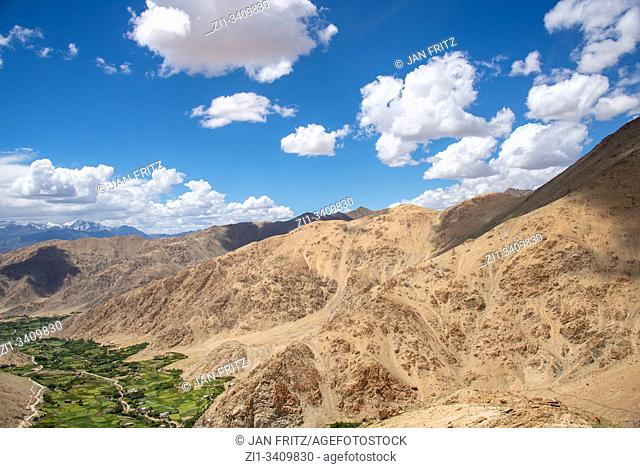 view at Indus valley from Khardung La pass in Ladakh, India