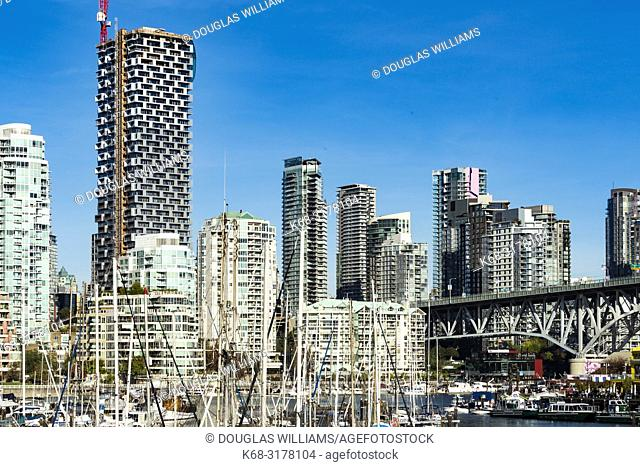 Skyline of downtown and False Creek marina, with Vancouver House on the left, Vancouver, BC, Canada