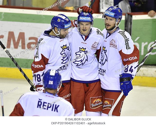 Czech ice hockey players celebrate a goal during the Euro Hockey Challenge match Slovakia vs Czech Republic in Trencin, Slovakia, April 26, 2019