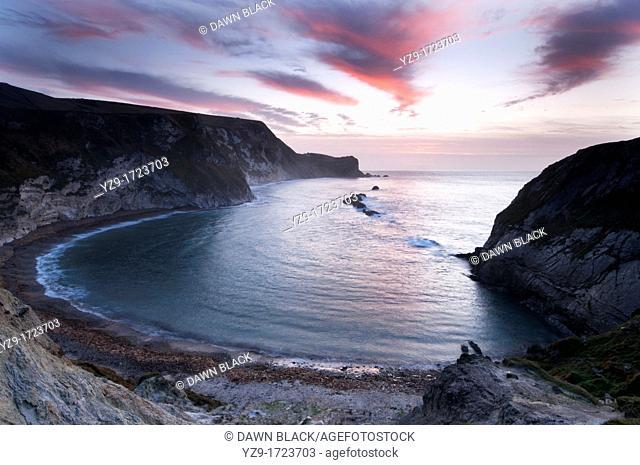 Man of War Bay at dawn, Dorset, England, UK