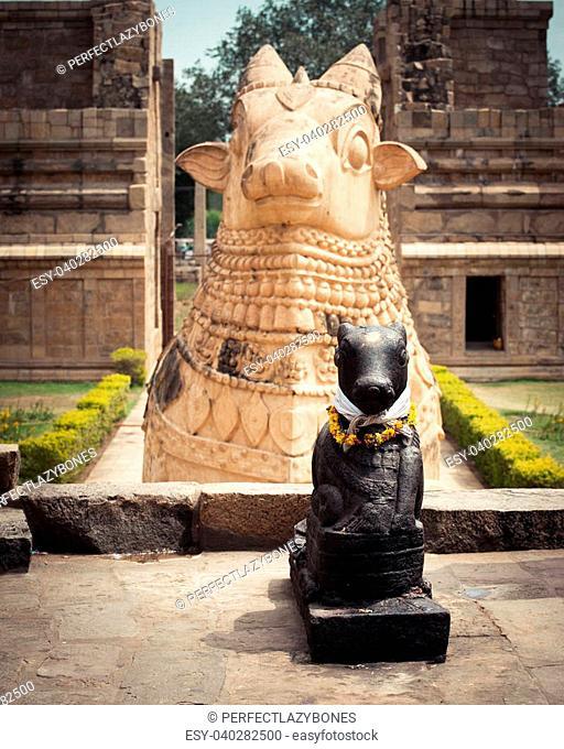 Statue of Nandi Bull in front of Gangaikonda Cholapuram Temple. South India, Tamil Nadu, Thanjavur (Trichy)