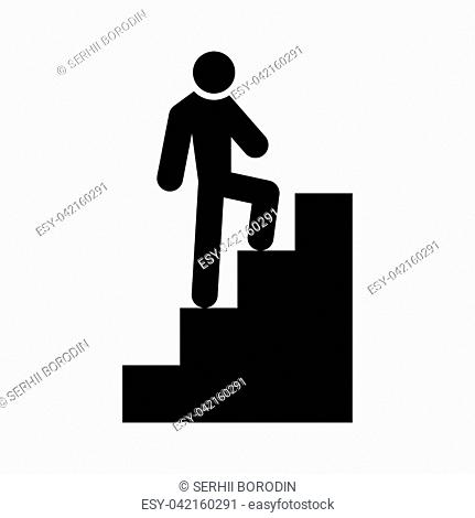 A man climbing stairs it is black color icon