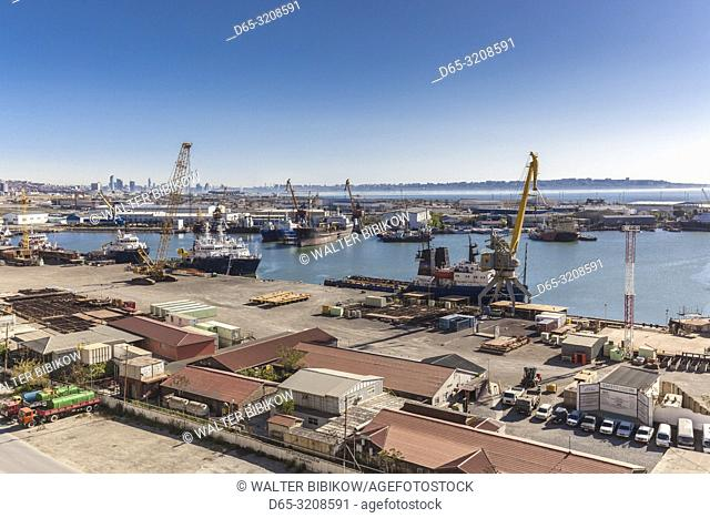 Azerbaijan, Baku, Port of Baku, high angle view