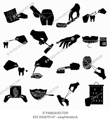 Anesthetic injection, examination of the tooth and other icon in black style. wound treatment, vision check icons in set collection