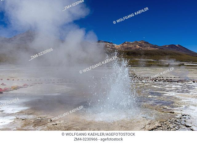 A bubbling hot spring at the El Tatio Geysers geothermic basin, which is near San Pedro de Atacama in the Atacama Desert of northern Chile
