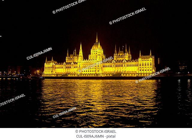 Hungarian Parliament and river Danube at night, Budapest, Hungary