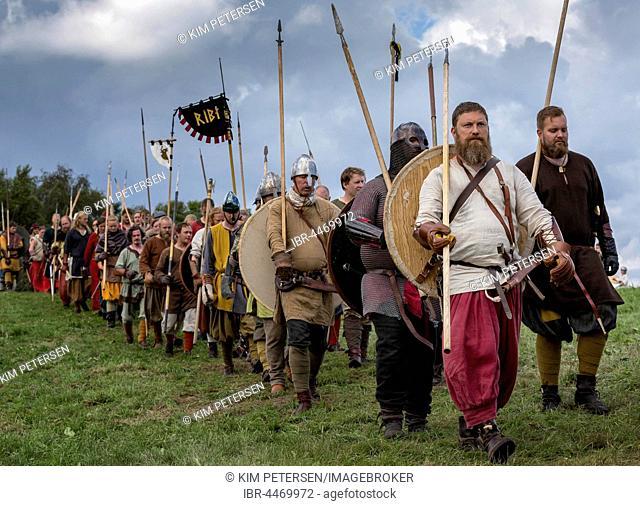 People dressed as vikings ready for battle, Mosegaard Museum, Aarhus, Denmark