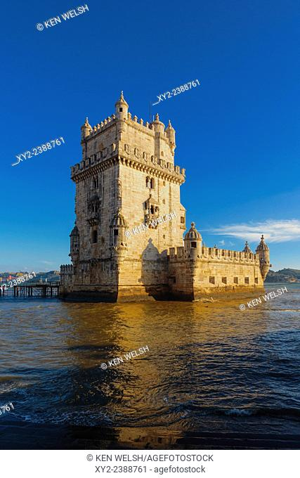 Lisbon, Portugal. The 16th century Torre de Belem. The tower is an important example of Manueline architecture and a UNESCO World Heritage Site