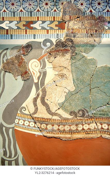 Mycenaean Fresco wall painting of an elborately dressed women in a procession from the Tiryns, Greece. 14th - 13th Century BC