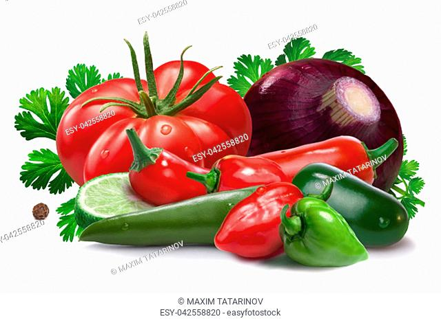 Onion, red and green habanero, halapeno, serrano peppers, heirloom tomato, cilantro. Ingredients for Salsa Cruda sauce. Clipping paths, shadow separated
