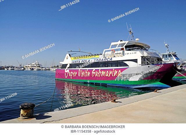 Ferry to the island Tabarca, ship, port, Isla de Tabarca, Santa Pola, Alicante, Costa Blanca, Spain, Europe