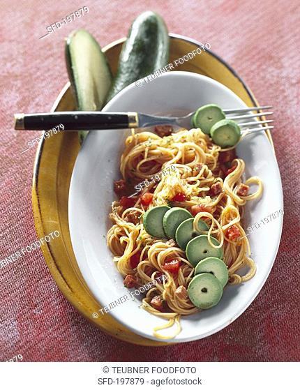 Pasta with chorizo and avocado