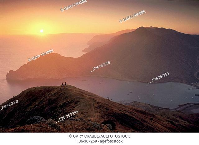 Hikers on hill above Catalina Harbor at sunset. Two Harbors area. Catalina Island. California Coast. USA
