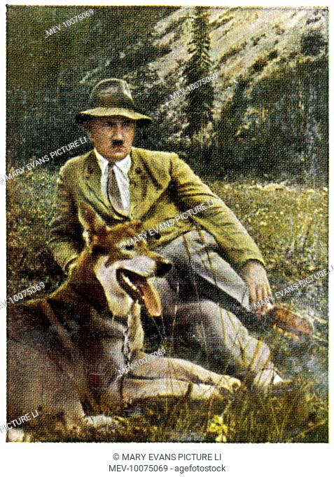 ADOLF HITLER With his favourite dog, at Berchtesgaden, circa 1933