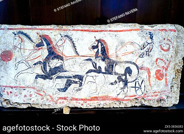 Fresco depicting four-horse charriot race. Andriuolo, Tomb 48 - Southern slab (340-330 BC). - Archaeological Area of Paestum - Salerno, Italy